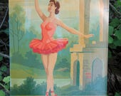 Vintage Paint by Number Ballerina Balcony Ballet Dancer Craft Master Mid Century 1960 PBN Unframed Painting