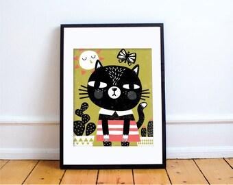 MIAU-MIAU Print // Cat Wall Art // Cat Print // Cat Illustration // Children's Room Decor // Baby Nursery Decor
