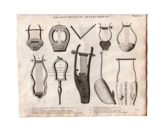 c 1819.MUSICAL INSTRUMENTS print - original antique music print - lyre - harp - testudo - systrum - psaltery - ancient musical instruments