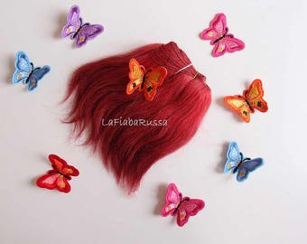 Weft mohair Doll hair red ombre reroot custom Blythe doll hair pullip wig waldorf wefted hair BJD curly doll hair mohair wig goat mohair