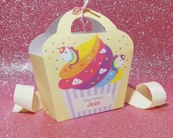 Kawaii Unicorn Cupcake Giftbag Cute Love Rainbow Birthday Party Treat basket Bag Packaging Editable Printable PDF