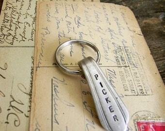 """Spoon Handle Key Ring, Stamped Spoon Handle Key Ring """"PICKER"""" Keyring, Vintage Silver Spoon Handle Key Chain, Silver Gift Key Chain, Vintage"""