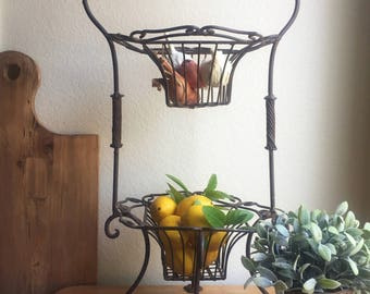 Vintage Iron Two Tier Basket Tray Rustic French Farmhouse