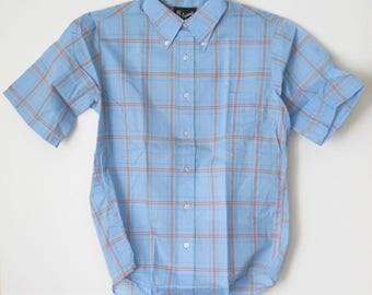 Vintage Mens Jayson's Shirt • Cotton Short Sleeve NOS Unused • 1970s Blue Plaid Summer Shirt
