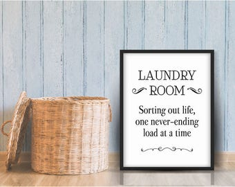 Funny Laundry Sign, Laundry Sign Decor, Laundry Print, Funny Laundry Room, Vintage Laundry Sign, Sorting Out Life Sign, Printed Laundry Sign