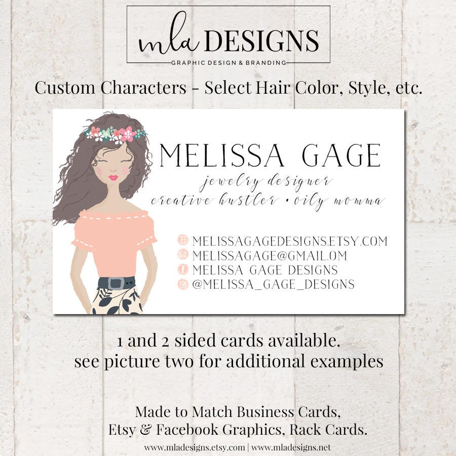 Custom Character Business Card, Business Card, Watercolor Business ...