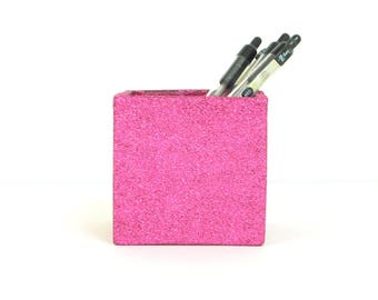 """Bright Pink, Hot Pink Glittered 3"""" x 3"""" Square Glass Votive Candle Holder, Pen and Pencil Holder, Makeup Brush Holder, Home Decor"""