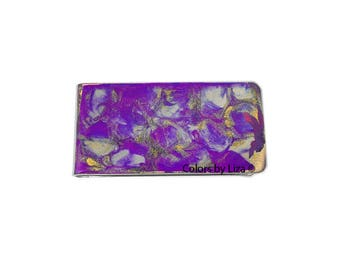 Purple  Money Clip in Hand Painted Enamel Orchid Purple Quartz Inspired with Personalized and Assorted Color Options
