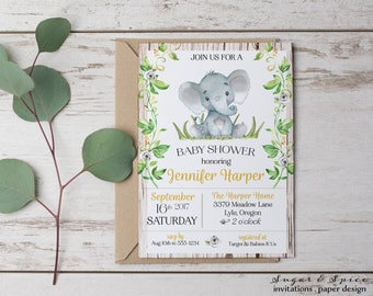 Elephant Baby Shower Invitation, Rustic Baby Shower Invitation, Gender  Neutral Baby Shower Invitations,