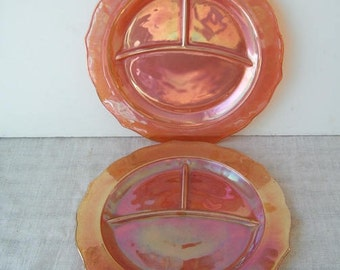 2 Federal Normandie Iridescent Orange Grill Plates, Large Divided Marigold Plates, Carnival Serving Plates, Vintage Glass Grill Plates