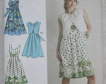 Sz R5  (14-16-18-20-22)  Simplicity Sewing Pattern 2886 Empire Waist Dress and Bolero
