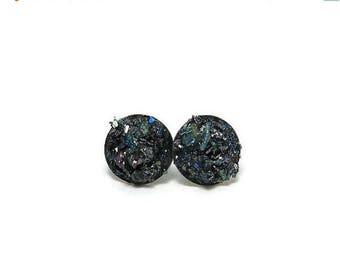 25% Off Sale Crushed Carborundum Stone Stainless Steel Stud Earrings