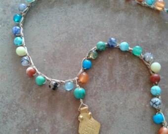 Boho colorful gemstone crocheted necklace, beach necklace, boho beaded necklace,  gemstone necklace