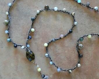Herkimer Diamond, Pyrite crochet long beaded layering necklace, beach crochet, long layering necklace,  gemstone crocheted long necklace