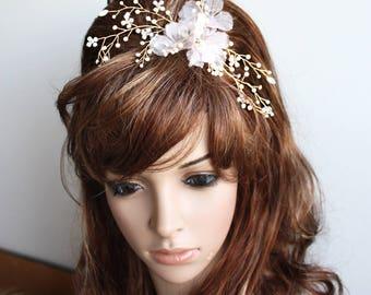 Blush hair flower wedding comb in gold