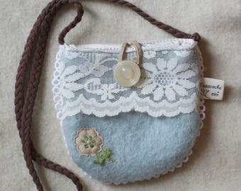 little girl's purse, bag,blue,white, reclaimed wool and leather,flowers,vintage trims, lace