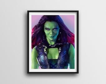 Gamora- Low Poly - Digital Download Print - DIY - Instant Gift - Printable - Disney - Guardians of the Galaxy