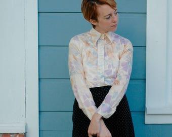 70s Button Up Shirt... 70s Collared Shirt... Disco Shirt... 70s Collar Shirt... 70s Printed Shirt... Menswear For Women