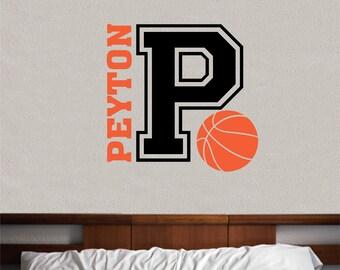 Basketball Name Varsity Letter, Vinyl Wall Lettering, Vinyl Wall Decals,  Vinyl Decals,