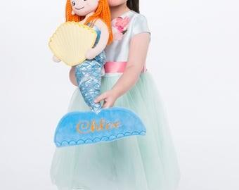 Mermaid Plush Rag Doll - Monogrammed Mermaid Doll - the little Mermaid - choose your monogram design