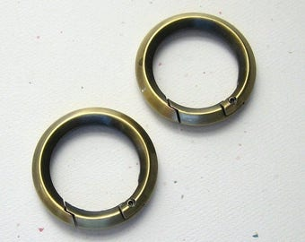 "Antique Brass 1"" Spring Gate Round D Rings Replacement Purse Hardware - Set of 2"