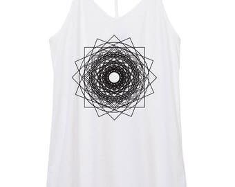 womens mandala tank - yoga - boho - geometry - triangles - star - stars - space - womens skinny strap cotton mandala tank top, squares