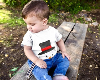 Gift for Baby Boy, Baby Girl - Peekaboo Snowman Face Infant Tee - Cute Snowman Face Baby T-Shirt - Stocking Stuffer - Personalized Baby