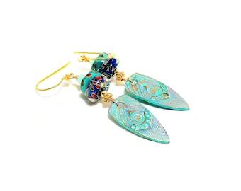 Turquoise Tribal Earrings. Lampwork Bead Earrings. Artisan Patina Charms. Boho Tribal Rustic Earrings. Gifts For Her. Glass Bead Jewelry.