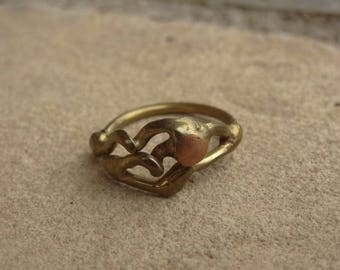 Vintage 1960s Ring - Brass and Copper Ring - Organic Design - Mid century - Modernist - Abstract Ring - Size 4 - Jack Boyd