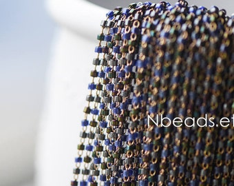 TOHO Seed Glass Bead Chain 1.8mm, Unplated Brass Beaded Tiny Chain  (#RB-052-1)/ 1 Meter=3.3ft