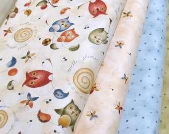 Four Fabrics from Red Rooster Fabrics' Collection Shine Featuring Owls and Butterflies, Cotton Quilt Fabric Bundle, Fat Quarter, Yardage