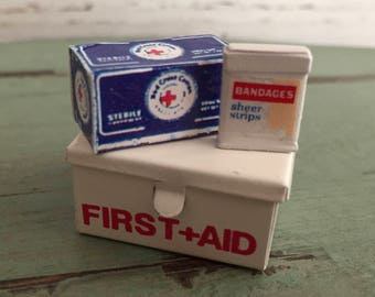Miniature First Aid Kit, Bandaids, Cotton, Metal First Aid Box, Dollhouse Miniatures, 1:12 Scale, Dollhouse Accessory, Decor, Crafts
