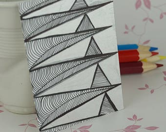 Metallic Silver Lines ACEO Art Card Mini Artwork Trading Card