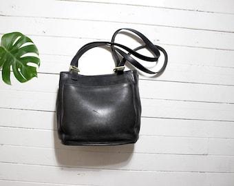 Vintage Coach Bag / Coach Tote Bag / Black Leather Coach Purse / Black Leather Tote