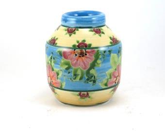 Ceramic Flower Vase - Vibrant Multi-colored Round Ceramic Floral Decorative Vase - One of a Kind