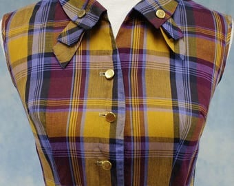 Vintage 50s/60s PaintSet Fashions Plaid Sleeveless Shirtwaist Summer Dress, Small, Med  6 8