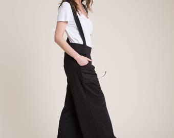 NEW Black Suspender Pants / Long Jumpsuit / Sleeveless Jumpsuit / Long Pants / Black Romper / Unique Jumpsuit / marcellamoda - MP856