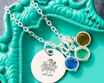 SALE • Mom Gift Tree Necklace Gift Family Tree Jewelry • Childrens Birthstone Crystals Colorful Necklace • Small Tree Silver Generation Gift