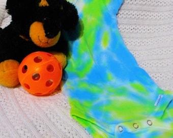 Froggy Splashes Tye Dye Baby Creeper size 3-6 Months,Tye Dye, Baby, Hand Dyed