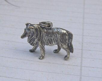 Sterling Silver Dog Charm, Vintage Sterling Charm, Border Collie Figural Animal Charm for Bracelet 925