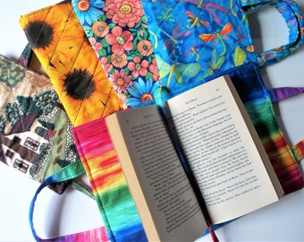 Quilted Paperback Book Cover with Carry Strap Handles and Attached Bookmark,Romance Book Cover,Your Choice,Wolf,Dragonfly,Flowers,Cottage