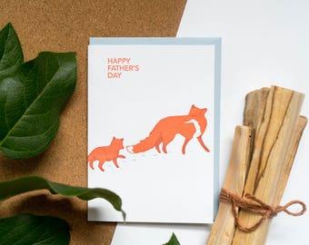 Letterpress Fox Father Card