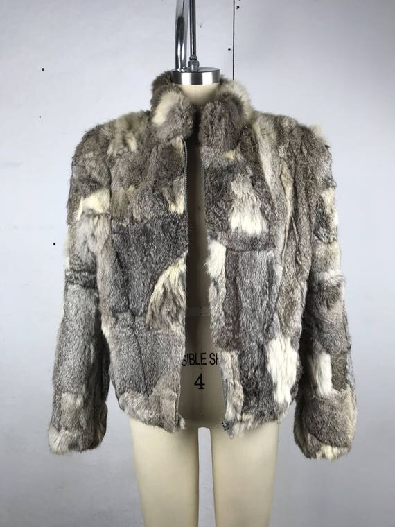 80s Gray and White Fur Bomber