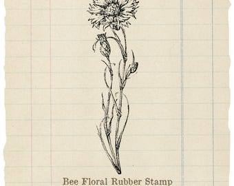 Bee floral Unmounted rubber stamp