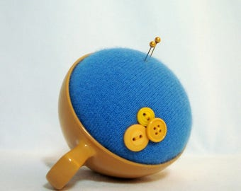 Pincushion Handmade Blue in Yellow Oneida Melmac Teacup