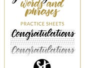 Greeting Card Words Practice Sheet - Downloadable Calligraphy Practice Sheet - Hand Lettering Grid Font