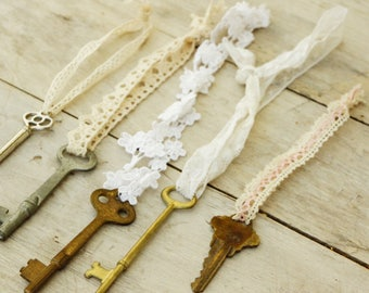 Upcycled Vintage Antique Keys And Lace Ornaments/Shabby Chic/Boho/Bohemian/farmhouse Decor/Wedding Decor