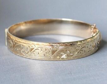 Vintage Gold Cuff Bangle Bracelet, Swirling Vine Engraved Design Hinged with Safety Clasp - Golden Waves