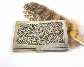 Ornate Silver Card Case Handmade in Siam 30% Purity