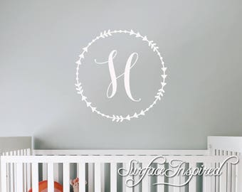 Personalized Wall Decal Circle Monogram for boys and girls rooms. Personalized wall decals made in any colors you want.